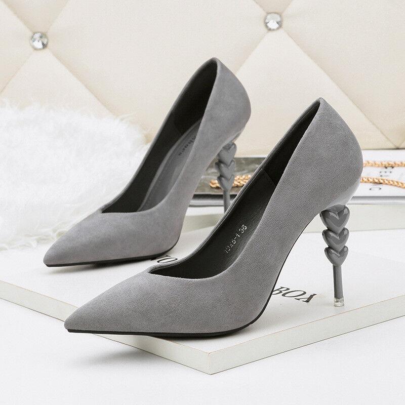 Decolte stiletto 10 cm eleganti grey  rocchetto eleganti  simil pelle 9903