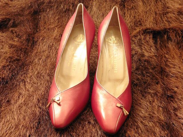 Súper Zapato de Tacón Buccheri Cuero Cereza Metalizado Vintage 60 60 60 Nuevo T.37.5 09ec1d