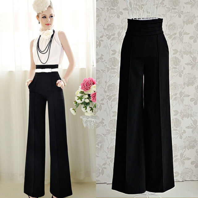 New Women Casual High Waist Flare Wide Leg Long Pants Palazzo Trousers Excellent