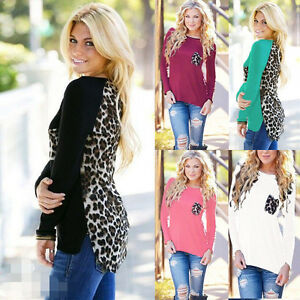 Plus-Size-Fashion-Womens-Leopard-Blouse-Top-Long-Sleeve-Ladies-Tops-Tee-T-Shirt