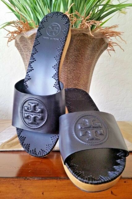d57c484e54bd TORY BURCH PATTY WEDGE SLIDE 36 MM LEATHER SIZE 7 PERFECT BLACK NEW ...