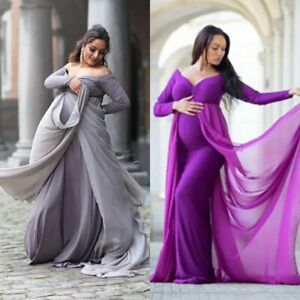 Womens-Pregnant-Long-Dress-Gown-Off-Shoulder-Photography-Party-Maternity-Dress