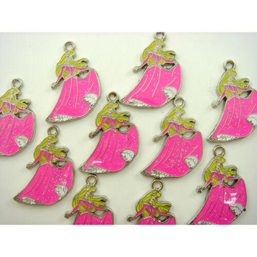 Wholesale 10 pcs Princess Aurora Jewelry Making Metal Figures Pendant Charms SET