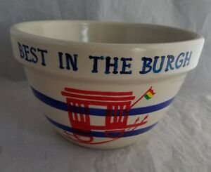 Vintage-RRP-Roseville-OH-Stoneware-9-034-Mixing-Bowl-Blue-Striped-Best-in-the-Burgh