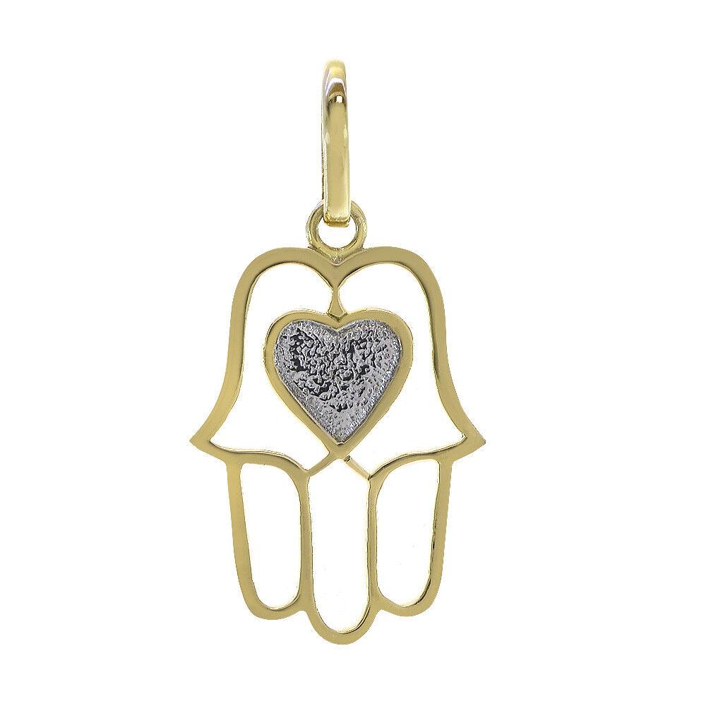 14K Two Tone gold Hamsa With Heart Pendant
