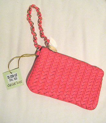 Deux Lux Handbag-Bowery Woven Wristlet Bag in Neon Coral Pink- NWT - SRP: $64.00