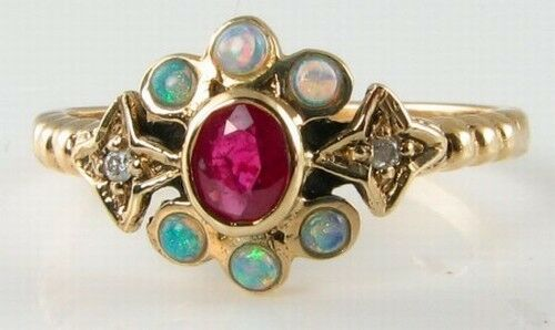 LUSH 9CT gold INDIAN RUBY & OPAL   SUN MOON STAR   ASTRAL ART DECO INS RING