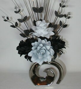 Artificial Silk Flower Arrangement Grey Black White Flowers In