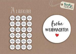 24-x-Geschenkaufkleber-034-Frohe-Weihnachten-034-40mm-weiss-Etiketten-Aufkleber-Sticker