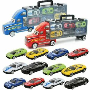 Transport-Car-Carrier-Semi-Truck-Toy-With-6-Cars-Kids-Birthday-Christmas-Gift