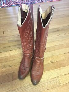 Vintage-70s-80s-Zodiac-Ladies-Brown-Leather-Tall-Cowboy-Boots-Womens-6-M-Western