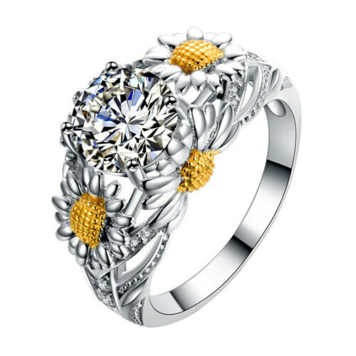 HK-Tournesol forme Fashion Bridal cubique zirconite Doigt Anneau Cadeau éblouissante