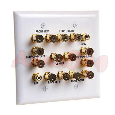 Speaker Wall Plate 7.2 Surround Sound Distribution 2 Gang 2 RCA Jacks