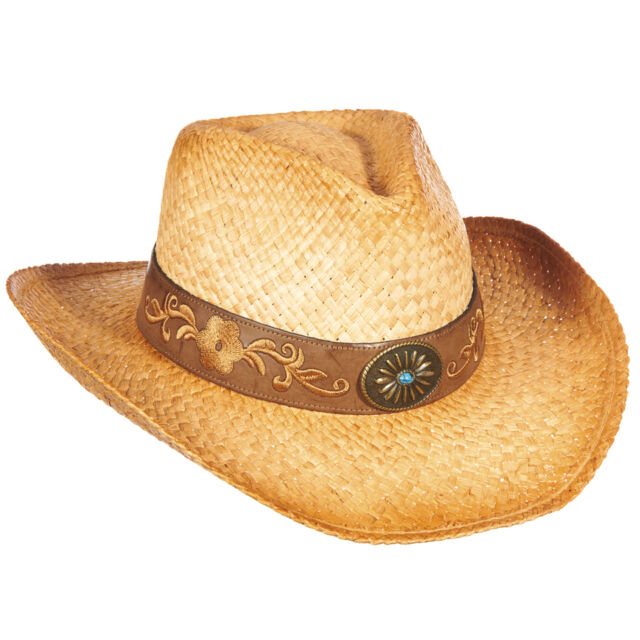 86e95ac684b SCALA RAFFIA STRAW COWBOY HAT    NEW WOMEN SHAPEABLE RODEO JOVI SUMMER SUN  SHADY