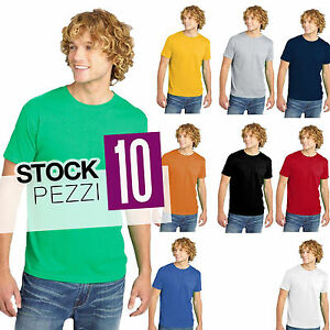 Set-10-T-Shirt-Uomo-Magliette-a-Maniche-Corte-Cotone-Fruit-of-The-Loom-STOCK