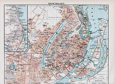 PüNktlich Kopenhagen København 1897 Orig. Stadtplan + Lex.-art. Dyrehave Vesterbro Tivoli