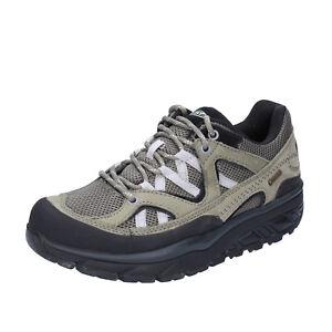 scarpe-donna-MBT-43-EU-sneakers-verde-grigio-tessuto-nabuk-BT23-43