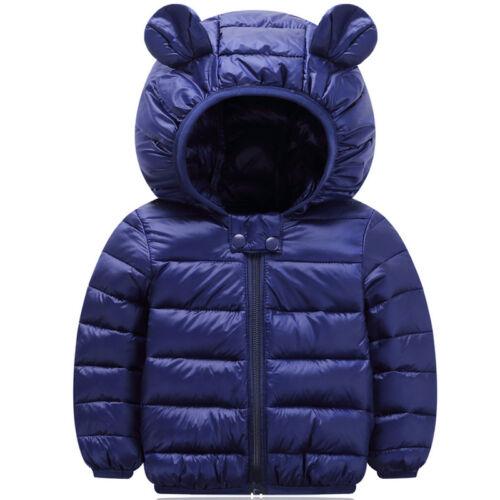 Toddler Kids Boys Girls Winter Warm Bear Ear Hooded Zipper Jacket Coat Outerwear