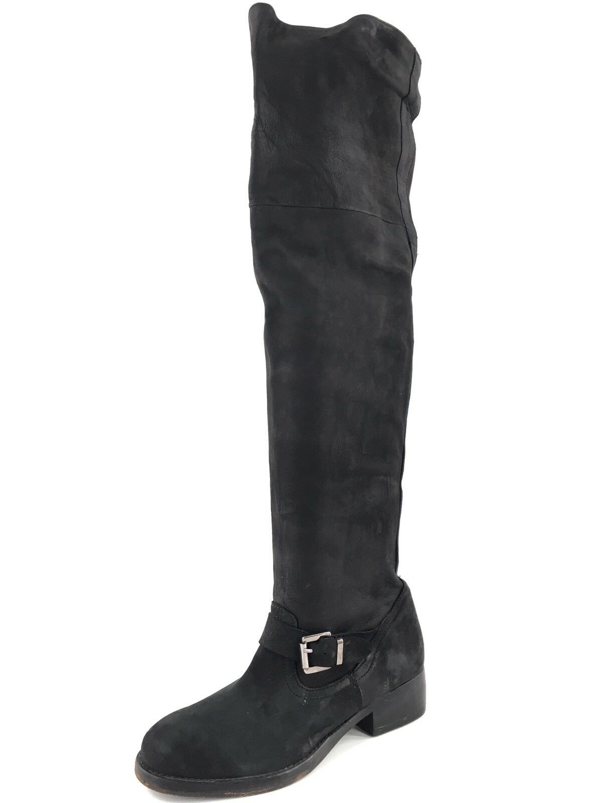 400 Kurt Geiger London Ash Black Leather Over the Knee Boots Womens Size 6.5 M