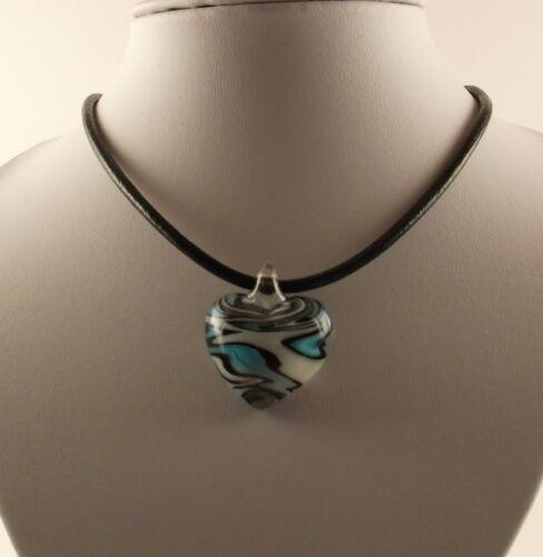 "Handmade Lampwork Glass Blue /& White Heart Pendant /& 18/"" Black Leather Cord."