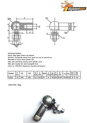 4 x Kugelgelenk Winkelgelenk mit Dichtung CS RH DIN 71802 M6 Rechtsgewinde