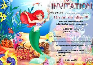 5 Ou 12 Cartes Invitation Anniversaire Petite Sirene Ref 18 Avec Ou