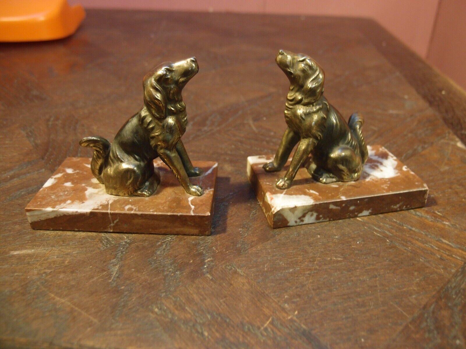 ORIGINAL PAIR of ANTIQUE ART DECO MARBLE & CAST METAL  DOGS  BOOKENDS