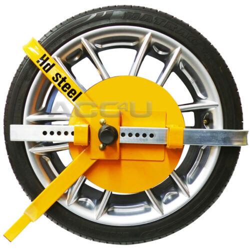 """HD Steel 13/"""" 14/"""" 15/"""" 16/"""" 17/"""" Caravan Van Motorhome Car Security Wheel Clamp Lock"""