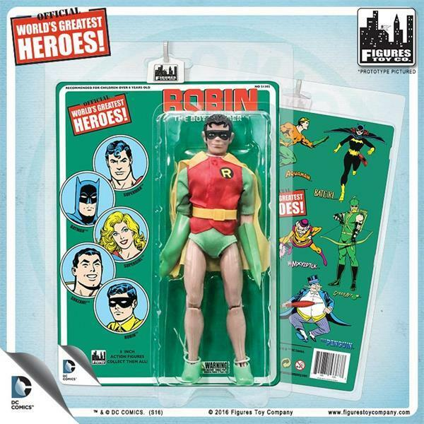 DC Comics 8 Inch Robin Action Figure With retro styled Cards: mip  retirosso