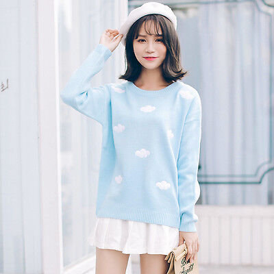 womens cute harajuku embroidery cloudy pullover sweater cardigan top sale VNC
