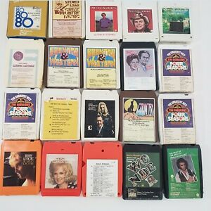 8 Track Tapes Vtg Lot of 20 Country 1970s Hank Williams Tillis Patsy Valli more