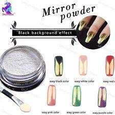 Espejo de Oro en Polvo Polvo De Uñas Efecto Cromo Blanco Esmalte En Gel Pigmento (M)
