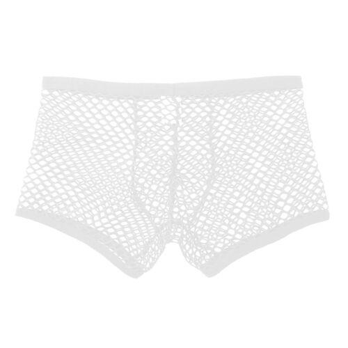 US Mens Mesh Underwear Male Fishnet Boxer Briefs See Through Underpant Shorts