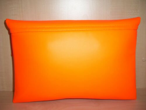 UK produced OVER SIZED BRIGHT ORANGE asymmetrical faux leather clutch bag