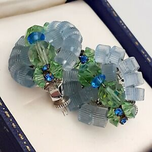 Vintage-Signed-VENDOME-Blue-amp-Green-Glass-Bead-CLIP-ON-Earrings