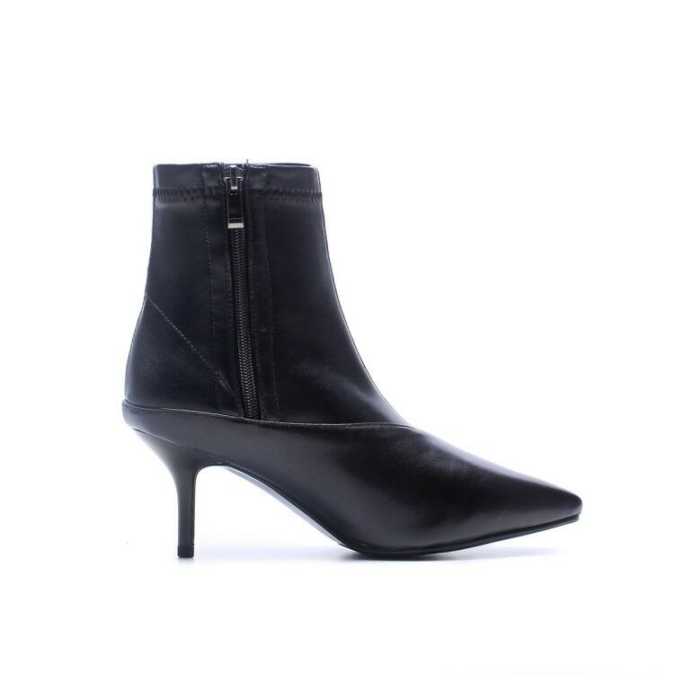 Women Ankle Boots Oxford Oxford Oxford Style Kitten Heels Leather Booties Pointed Toe shoes 45677d