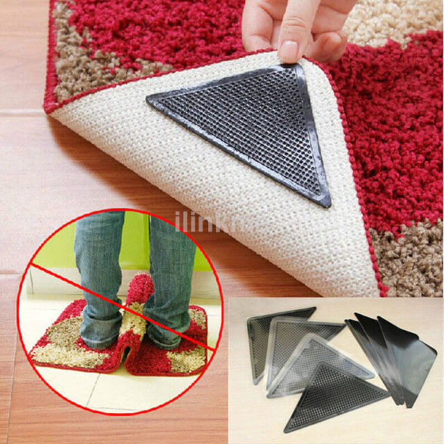 4 pcs Carpet Mat Rug Grippers Non Slip Anti Skid Washable Silicone Grip Reusable
