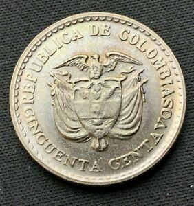 1965 Colombia 50 Centavos BU  Jorge Gaitan   Copper nickel Coin     #K575