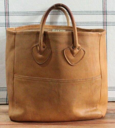 Vintage LL Bean Tan Leather Tote Shopper Bag Freep
