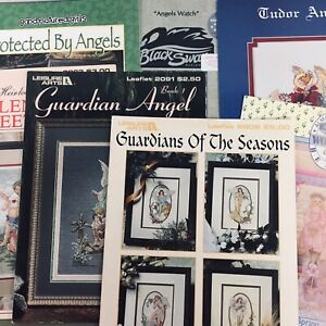 Lot-of-7-Angel-Vintage-Cross-Stitch-Charts-amp-Booklets-Emmer-Seasons-Black-Swan