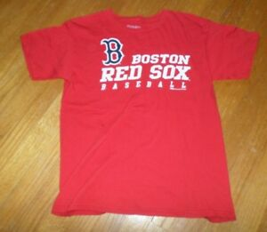 best sneakers a743c 716c7 Details about Boy's Boston Red Sox Baseball Red Short Sleeve Shirt Size  Large