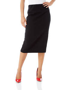 Roman-Originals-Women-Textured-Pencil-Skirt-in-Black-sizes-10-20