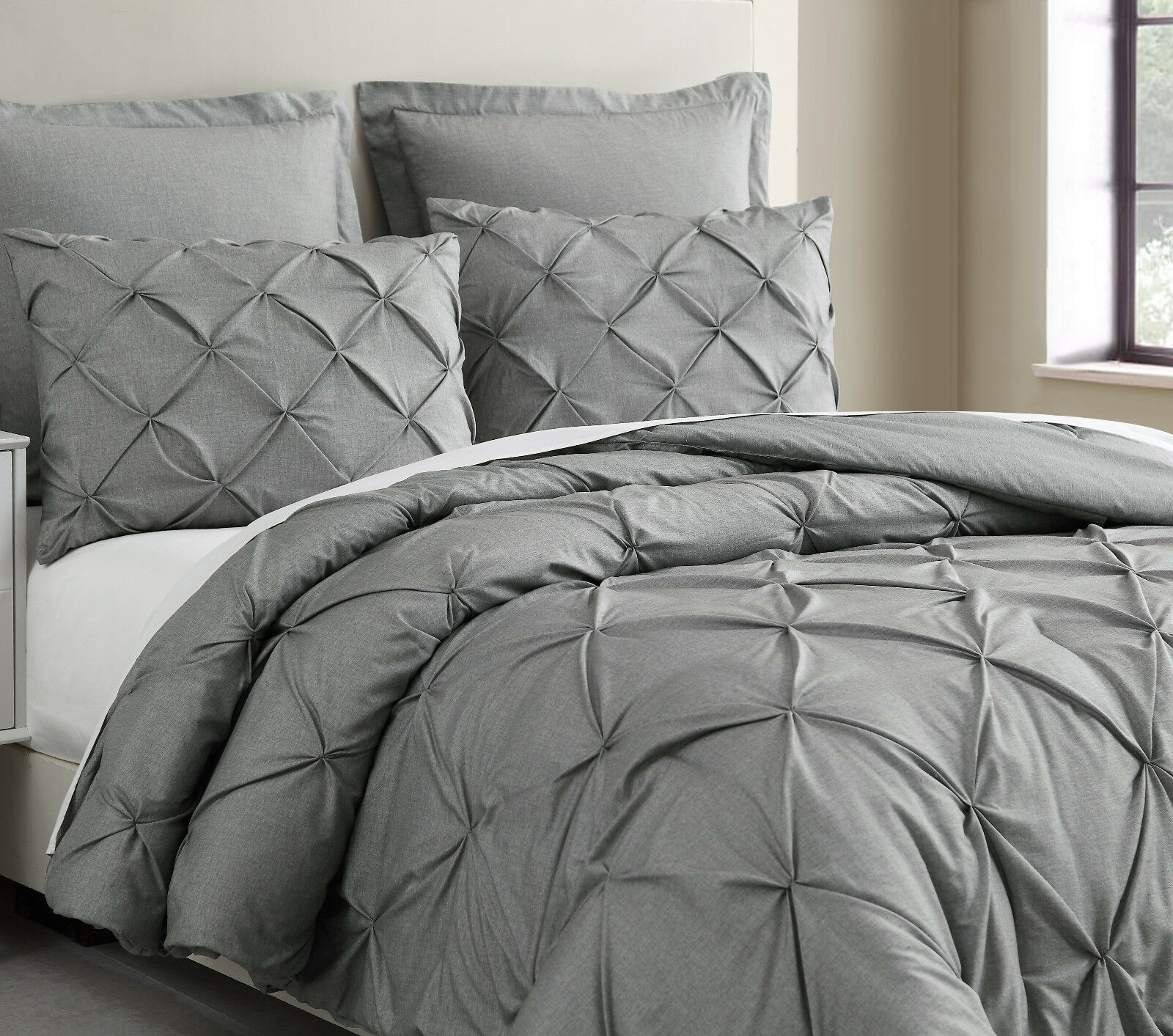 Pinch Pleat Light grigio Comforter Set Pintuch Bed Cover for All season