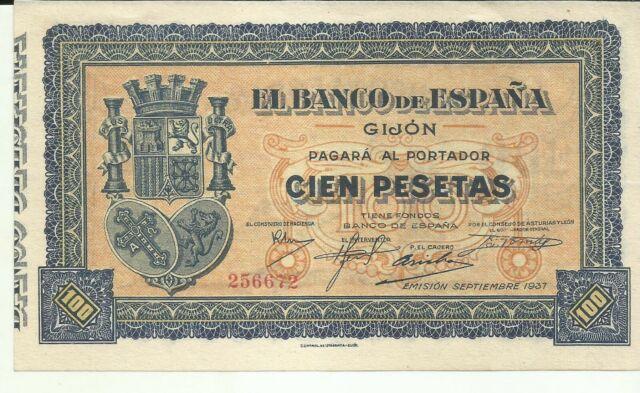 SPAIN 100 PESETAS 1937 GIJON. UNC CONDITION. 7RW 01JUL