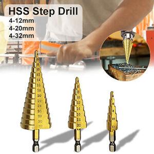 HSS Spiral Step Cone Drill Bit Hole Cutter Tool Titanium Coated 4-12mm//20mm//32mm