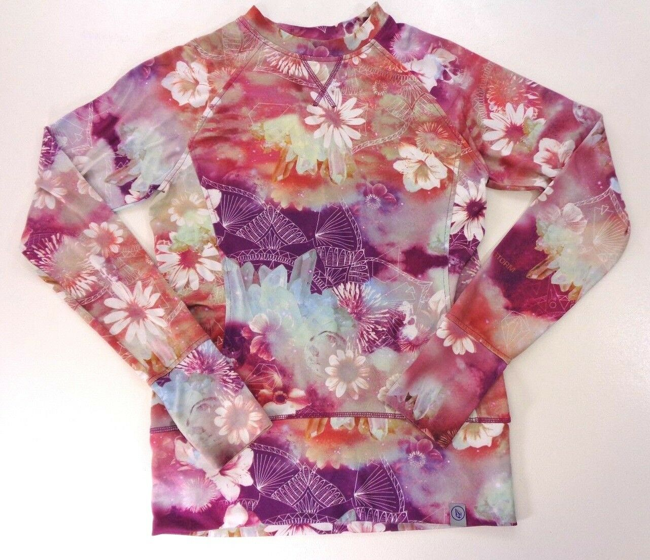 Volcom Long Sleeve Athletic Top Artsy Floral Print Front Pocket Womens S Small