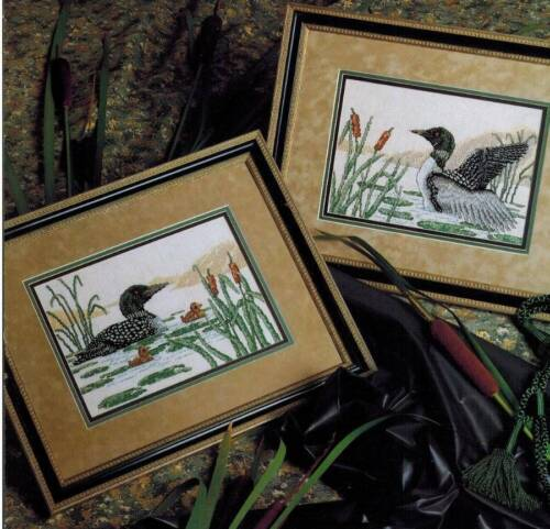 Loon Call of the North Country Cross Stitch PATTERN Water Bird Cattails Duck NEW