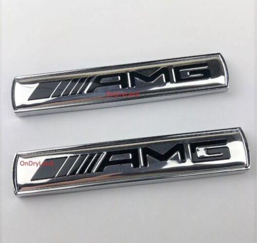 2 X MERCEDES AMG SILVER Side Wing Badge Emblem  C E A S SL SLK CLASS