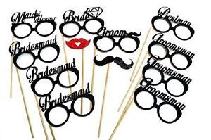 2PC Bride Groom Glasses Photo Booth Props Wedding Parties