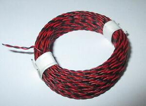 0-495-M-Conducteur-Jumele-Rouge-Noir-10m-Extra-Mince-2-X-0-04qmm-Neuf